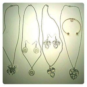 Spider Dragon Heart Necklace Bundle Emo Goth Punk